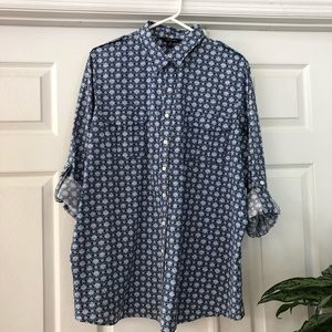Button Tab Sleeves and Shoulder Print Blouse